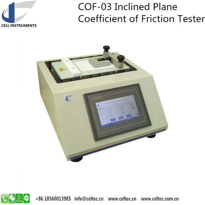 INCLINED PLANE COEFFICIENT OF FRICTION TESTER STATIC COF TESTER SLIP SURFACE COF TESTER ASTM D 4918, ASTM D 202